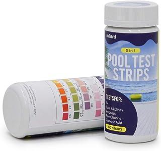 Milliard 泳池测试纸 适用于游泳池水、热水浴缸和水疗 - 5 路测试纸 - 100 个