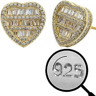 真正实心 925 纯银 - 心耳环 - 镀 14k 黄金 - 冰晶锆石 大号 1.27 厘米心形耳环 螺丝背面 - 大嘻哈 Flooded Out Baguette Diamond