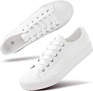 hash bubbie 女式白色 PU 皮革运动鞋低帮网球鞋休闲鞋