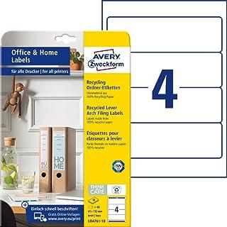 AVERY Zweckform LR4761-10 可回收文件夹侧脊标签 ( 40 个侧脊标签 , 61 x 192 毫米 A4 , * 可回收废纸打印 , 自粘文件夹标签 , 适用于家庭办公室 ) 10 页 , 白色