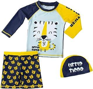 婴幼儿男孩两件套泳衣套装 鲨鱼恐龙螃蟹泳衣*衣带帽子 UPF 50+