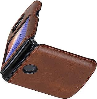 Cresee 兼容摩托罗拉 Razr 5G (Razr 2nd Gen) 2020 手机壳,PU 皮革后盖+硬 PC 保护壳薄款手机壳,适用于 Moto Razr 5G 棕色
