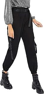 MAKEMECHIC 女式休闲纯色中腰实用工装裤慢跑裤带腰带