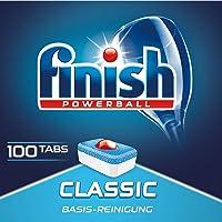 Finish Classic 洗碗机用餐具洗涤块 不含磷酸盐 带有Powerball清洁球,用于餐具的基本清洁,大包装…