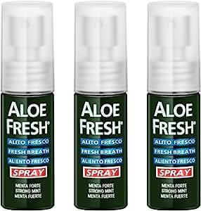 【进口   套装】意大利Aloe Fresh瑷芦清芦荟口气清新喷雾剂15ml*3 去口臭 口腔上火