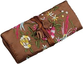 WEI LONG@Jewelry 卷,旅行首饰卷袋,丝绸刺绣锦缎首饰收纳盒带闭合,花朵 棕色 Jewelry Roll-Blossom-Brown