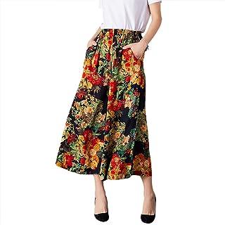 NJunicorn Uncle 女式舒适弹力腰棉和亚麻花卉多褶阔腿裤