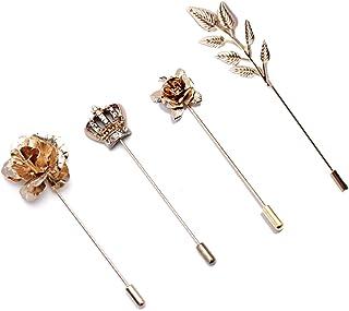 ROFARSO 4 件套闪亮优雅金色皇冠玫瑰紫色花朵小麦叶翻领别针外套西装领配饰胸针适合女士男士女孩时尚水钻水晶派对婚礼礼物