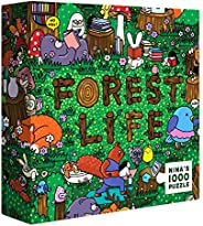 SOONNESS 成人拼图游戏,1000片-有趣的卡通动物插图,与家人一起寻求与发现的活动(森林生活)