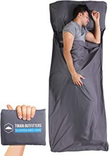 睡袋内衬 – 野营床单旅行睡袋 – XL 码轻质野营包内衬,适合成人使用 – 适用于酒店、旅馆、旅行、背包和徒步 – 光滑、透气舒适的织物亚麻布
