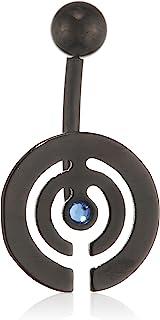 Pure Grey 中性香蕉叉德国制造肚脐穿孔钛锆石蓝色明亮切割 - 珠宝Eternitybells 12 BL SB