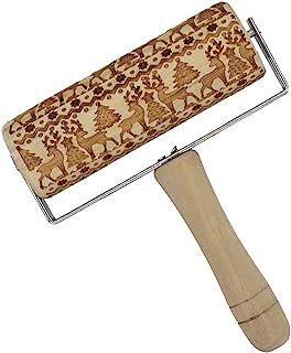 圣诞木制擀面杖带手柄,雕刻压花擀面杖 DIY 厨房工具,带圣诞树和麋鹿图案,适用于圣诞派对、家庭聚会、冬季主题烘焙糕点