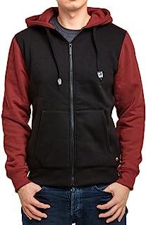 男式双色全拉链连帽夹克,羊毛衬里和前口袋