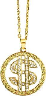 Boland 64420 - 项链美元符号,金色带水钻,适合成人,带吊坠,首饰,百万富翁,黑手党,狂欢节,狂欢节,万圣节,主题派对