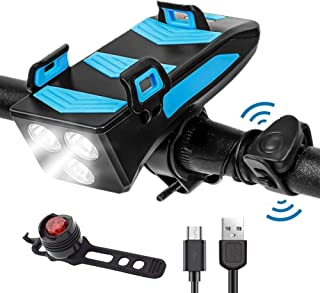 WINDFIRE 自行车灯套装 USB 可充电防水 自行车前照灯和后灯 4 合 1 多功能自行车灯 带手机支架和喇叭 适用于公路山地自行车