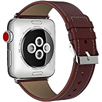DRUnKQUEEn 苹果手表表带真皮 42 毫米表带不锈钢金属搭扣适合 Apple Watch 系列 3、系列 2、系…