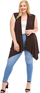 女式加大码无袖开衫背心[美国制造]柔软、轻盈、舒适前开襟长款开衫