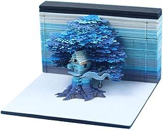 Haoun DIY 笔记纸艺术积木,3D 粘性备忘录树屋模型带 LED 灯创意贴纸纸卡工艺礼品 - 蓝色
