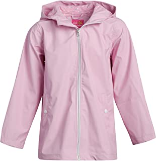 Pink Platinum 女童夹克 - 轻质防水连帽雨衣,尺码 4,纯粉色