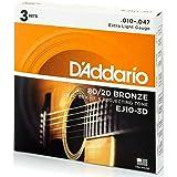 D'Addario EJ10 青铜民谣吉他弦,超轻,10-47,3套(EJ10-3D)