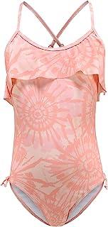 女孩连体泳衣单肩褶皱泳衣儿童夏威夷花卉泳装 3-16 岁