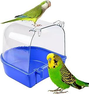 YNC 鸟盆 透明鸟盆 鸟笼配件 悬挂鸟盆 适用于小鸟 鹦鹉 锥体 长尾鹦鹉 长尾鹦鹉 蓝色(深蓝色)
