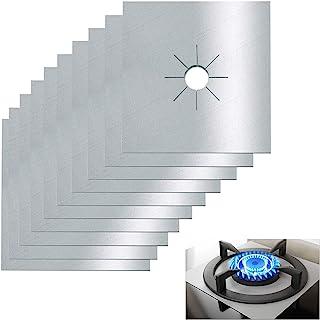 炉灶燃烧器盖,10 件装,燃气灶燃烧器衬垫,不粘可重复使用煤气灶炉保护套,适用于厨房、烹饪、切割、易于清洁的焦点(银色)