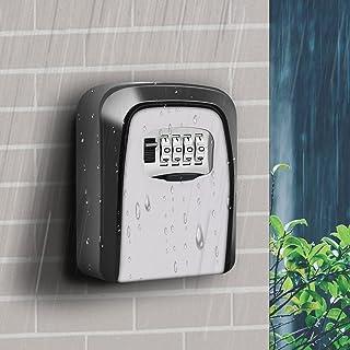 HoneSecur 钥匙锁盒 4 位数组合防水便携式壁挂钥匙收纳盒 适用于家庭、酒店、Airbnb 和学校密码锁盒