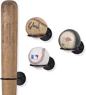 Wallniture Sporta 运动纪念品棒球棒和球座壁挂式展示架钢黑色一套 4 个