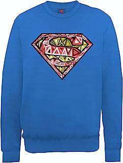 DC Comics 男式 DC0000806 官方超人单元标志圆领长袖运动衫