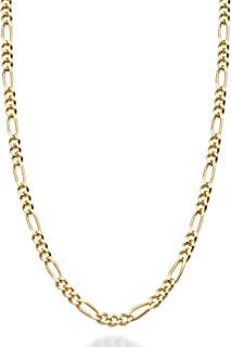 Miabella 实心 18K 纯银意大利 2.3mm 钻石切割费加罗链项链 男女适用 13+2、16、18、20、22、24、26、30 英寸 925 意大利制造