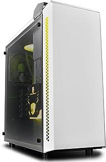 DeepCool baronkase 液态铝塔包,含液冷却系统 120 毫米,2 个 USB 3.0 端口,钢化玻璃侧面板,白色
