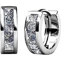 cate & CHLOE giselle 18 K 白金镀金*耳环施华洛世奇美丽闪亮银小号 hoops 耳环套装结婚纪念…