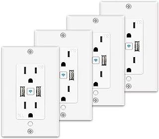 Lumary 智能 WiFi 壁装插座 15 安培防篡改分离双插座,2 个插头独立控制,同时控制 2 个 USB 端口,与 Alexa,Google Home 兼容 - 4 件装