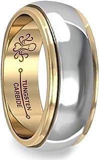 Oceanus Tungsten 男式婚戒 18K 镀金戒指 6mm 或 8mm
