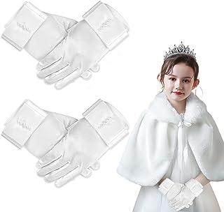2 双短款女孩缎面手套,FLMOUTN 女孩公主手套弹力缎面手套,带蝴蝶结珍珠,适合 3-15 岁儿童使用