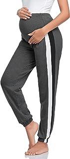 Jezero 女式孕妇裤运动裤腹部慢跑裤弹性孕妇休闲裤带口袋