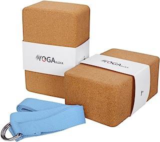 JBM 国际 JBM 瑜伽砖 2 只装加带软木瑜伽块瑜伽砖,自然环保的软木瑜伽块支撑和深层姿势,轻质、防臭、防潮防潮防潮防潮