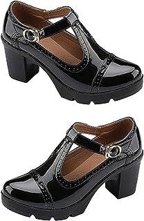 Holibanna 玛丽珍鞋女式 T 型绑带高跟鞋粗跟防水台高跟鞋圆头礼服鞋带扣