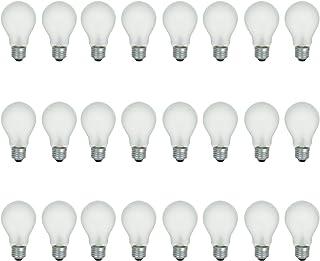 A19 磨砂白炽灯粗糙服务灯泡,100 瓦,2700K 软白色,E26 中等灯座,1020 流明,130 伏(24 包)