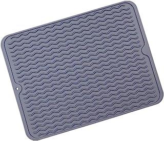 1 件装大号波浪硅胶餐具干燥垫耐热垫水槽垫餐具排水垫防滑隔热垫易清洁洗碗机*15.7 x 11.8 英寸(深灰色)