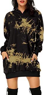 Auxo 女式长袖连帽口袋套头连帽衫连衣裙束腰运动衫