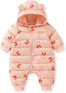 pureborn 新生儿婴儿拉链连帽羽绒服冬季连身衣