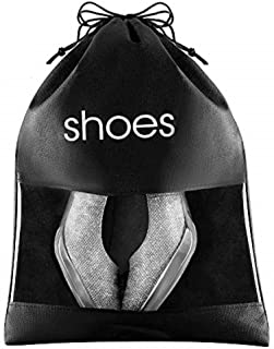 FABBPRO 鞋袋收纳包透视黑色6 件装 - 38.10 厘米 x 26.67 厘米 - 鞋带抽绳和 PVC 窗户用于识别鞋子 - 非常适合家庭客房旅行包