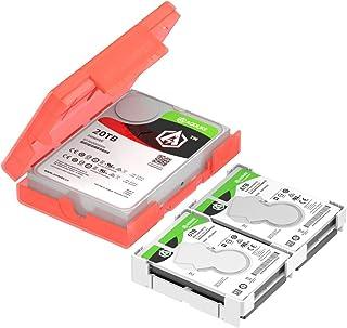 AOJUE 硬盘盒 2.5/3.5 英寸 SATA/IDE HDD 存储盒,防静电防震电脑外置硬盘保护盒,可存储 2.5 英寸 4 件或 3.5 英寸 1 件S(KB03-US-Red)
