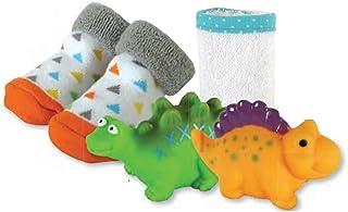 Stephan Baby 洗澡喷水浴缸玩具,洗布和短靴袜子礼品套装,恐龙
