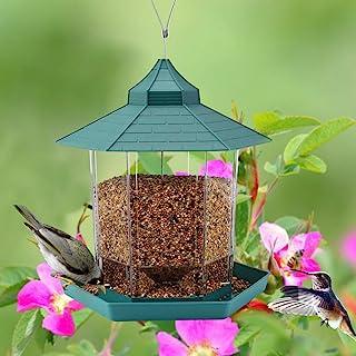 野生鸟类喂食器凉亭喂食器外部装饰 - 适合鸟类爱好者的孩子在户外花园庭院上吸引鸟类,2.6磅(约6公斤)容量六角形屋顶,避免天气和水