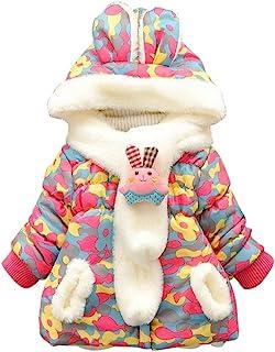 女婴冬季兔子连帽外套连帽外套迷彩夹克