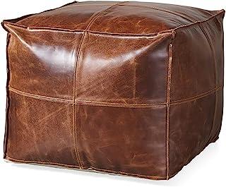 Orbit Art Gallery 方形通道袋盖 - 方形和大号Ottoman 皮革盖袋 - 波西米亚客厅装饰植物友好型小袋 - Hassock & Ottoman 脚凳 - 无填充物 - 45.72 厘米