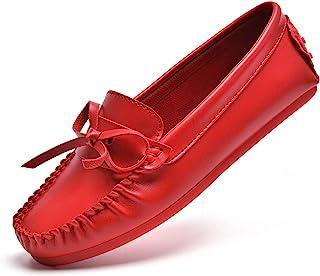 BEAUSEEN 女式蝴蝶结乐福鞋舒适船鞋 休闲驾驶软帮鞋